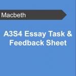 A3S4 Essay Task and Feedback Sheet - Macbeth Teaching Resource