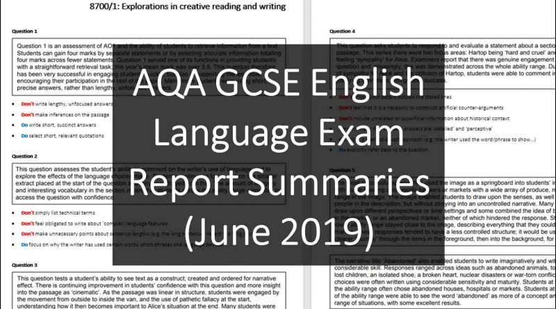 AQA GCSE English Language Exam Report