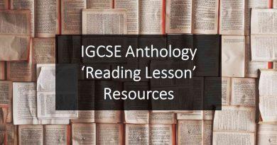 IGCSE Anthology 'Reading Lesson' Resources