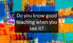 Do you know good teaching when you see it?